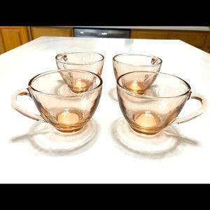 Set of 4 vintage pink tea cups